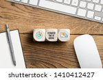 cubes showing delivery icons... | Shutterstock . vector #1410412427
