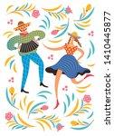 dansing man and woman. festive ... | Shutterstock .eps vector #1410445877