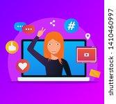 concept of influencer marketing ... | Shutterstock .eps vector #1410460997