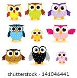 owls vector set   Shutterstock .eps vector #141046441