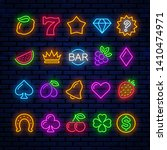 bright neon icons for casino... | Shutterstock .eps vector #1410474971