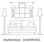 schematic interior drawn in... | Shutterstock .eps vector #1410491021
