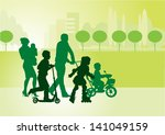 family on a walk with the... | Shutterstock .eps vector #141049159