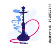 hookah with smoke stylized flat ... | Shutterstock .eps vector #1410521144