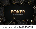 Stock vector dark background banner with casino elements chips playing cards roulette poker game concept 1410530054