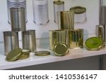 various metal cans for food on... | Shutterstock . vector #1410536147