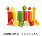 glasses with different juices... | Shutterstock . vector #1410613577