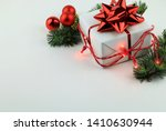 christmas decorations on white... | Shutterstock . vector #1410630944