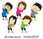 adults exercising | Shutterstock .eps vector #141063949