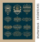 12 logos and banners. vintage... | Shutterstock .eps vector #1410651431