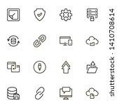 web hosting line icon set....