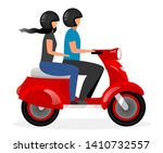 scooter taxi flat vector... | Shutterstock .eps vector #1410732557