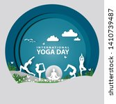21 june international yoga day... | Shutterstock .eps vector #1410739487