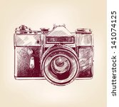 Vintage Old Photo Camera Drawn...