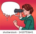 retro woman crying while... | Shutterstock .eps vector #1410753641