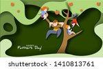 father and children climbed... | Shutterstock .eps vector #1410813761