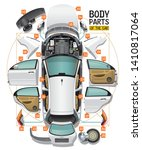 Stock vector parts of a body of the white car are spread out on a floor as analysis and entered in a circle and 1410817064