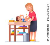 mother changing diaper to happy ... | Shutterstock .eps vector #1410834194