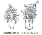 set of floral compositions.... | Shutterstock .eps vector #1410843911