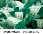 unrolled roll of green raffle... | Shutterstock . vector #1410861647