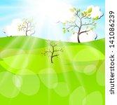 summer landscape. vector design ... | Shutterstock .eps vector #141086239
