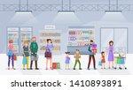 supermarket queue flat vector... | Shutterstock .eps vector #1410893891