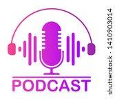 podcast icon color studio table ... | Shutterstock .eps vector #1410903014