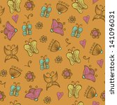 butterfly and flowers vector... | Shutterstock .eps vector #141096031