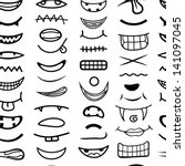 cartoon mouth seamless pattern. | Shutterstock .eps vector #141097045