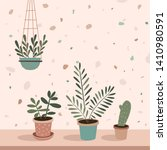 home green potted plants on the ... | Shutterstock .eps vector #1410980591