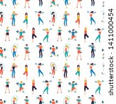 fitness center seamless pattern ...   Shutterstock .eps vector #1411000454