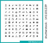 100 medical icons. vector black ...