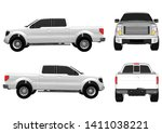 Vector Pickup Truck With White...