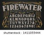 firewater branding alphabet is... | Shutterstock .eps vector #1411055444