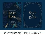 navy blue wedding invitation ... | Shutterstock .eps vector #1411060277