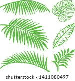 set of summer tropical leaves.... | Shutterstock .eps vector #1411080497
