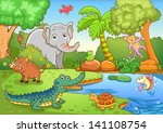 animals in forest. eps10 file   ... | Shutterstock .eps vector #141108754