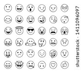 hand drawn emoji in black and... | Shutterstock .eps vector #1411096097