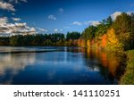 Stock photo forest lake in fall 141110251