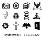 A Christian religious icon set with signs and symbols related to Christian themes - stock photo
