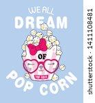 hand drawn cute popcorn...   Shutterstock .eps vector #1411108481