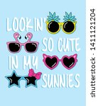 hand drawn cute sunglasses...   Shutterstock .eps vector #1411121204