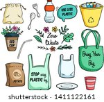 set of eco bag and go green... | Shutterstock .eps vector #1411122161