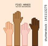 pixel hands over pink...   Shutterstock .eps vector #141113275