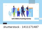 people standing in queue near... | Shutterstock .eps vector #1411171487