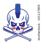 skull and crossed baseball bat | Shutterstock .eps vector #141117805