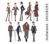 self confident victorian... | Shutterstock .eps vector #1411181291