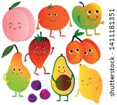 funny fruits and vegetables... | Shutterstock .eps vector #1411181351