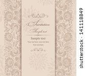 Stock vector wedding invitation cards baroque style brown and beige vintage pattern damascus style ornament 141118849