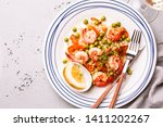 colorful dinner  lunch   ... | Shutterstock . vector #1411202267